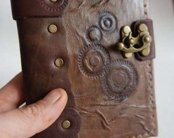 Leather Journal leather Notebook Sketchbook Diary/ handmade leather diary / leather bound  / ger wheel design &