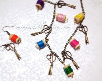 Miniature Spool Necklace. Colorful. Wood. Rainbow. Brass Chain. Sewing. Whimsical. Fun. Vintage Style. Sewing. Boho. Unique. Creative Crafty