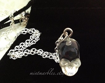 Crystal Skull Necklace. Resin Skull. Silver Chain. Goth Necklace. Spooky. Clear Skull. Halloween. Skull Jewelry. Under 20. Unisex. Gothic.