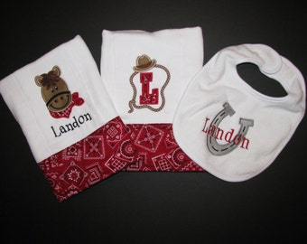 Western burp cloths and bib set; Personalized, appliqued burp cloth and bib set of 3