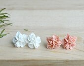 Ivory or Rose Flower Cluster Earrings, Flower Studs, Bridesmaids Gifts  - J104-8