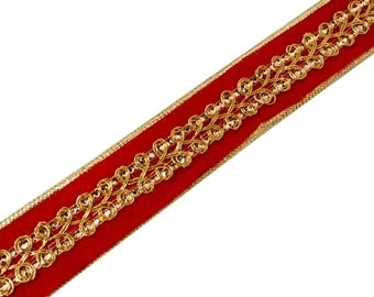 Red and Gold Sequinned Velvet and Jari Ribbon / Trim / Lace by Yard