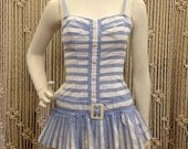 Amazing 1950's blue and white striped pin up play/swim suit