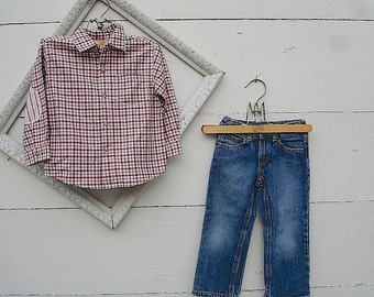 Vintage BOYS DENIM JEANS, & red plaid shirt, boys blue jeans, red shirt  (size 4T)