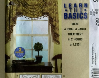 McCalls Home Dec in a Sec Learn the Basics Swag and Jabot Window Treatments Valance Sewing Pattern m5406 Uncut UC FF