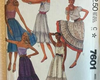 McCalls Misses Gypsy Boho Skirt Sewing Pattern 7601 UC FF Uncut Size M 14 16 Vintage Retro