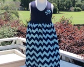 UNC TAR HEELS tank dress! girls navy tank with Carolina blue / navy chevron body. Sizes  6mo - 6/7yrs