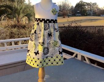GIRLS TANK DRESS ..contrasting fabric and hand-sewn yo-yo - sizes 6 months - 12 years