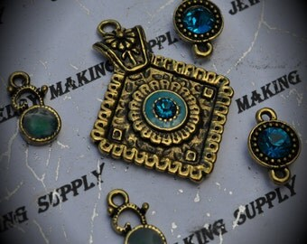 Brass Diamond Pendant With Crystals And Charms