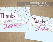 DIY Baby Sprinkle Thank You - 5.5 x 4 - Sprinkle with Love - Baby Shower Thank You Flat or Folded