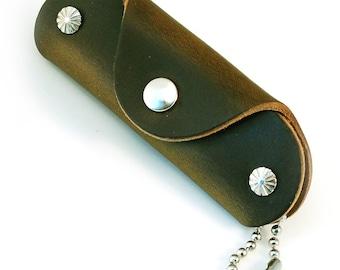 Olive Green Horween Chromexcel Slim Leather Key Case