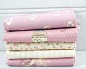 Fabric Fat Quarter Bundle 5 Gutermann Country Chic Cottage Dusky Pink and Beige - UK Shop - Craft Supplies