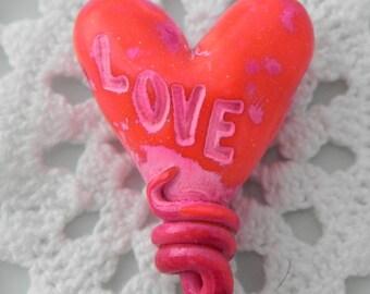 Love Heart Pendant Bead of handmade polymer clay
