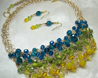 Teal, Lime, and Yellow Bib Necklace Set, Bead Crocheted Necklace, handmade wire crochet jewelry