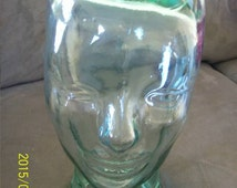 Glass Mannequin Head Vintage no chips life size for hats or wigs