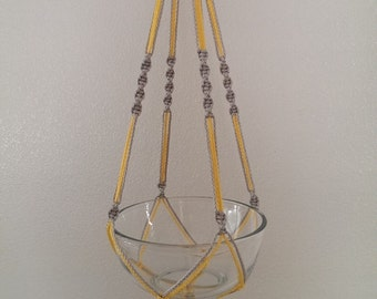 """Hand Crafted Macrame Plant Hanger- Silver and Yellow 35"""""""