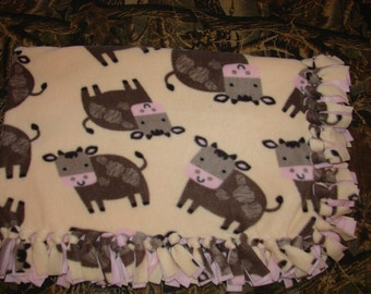 Pink Cow Double Sided Fleece Blanket, no sew tied fleece, infant baby blankets, farm animals, toddler throws, cuddle soft fabric, minkie