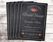 Bridal Shower Invitation Chalkboard - Flower - Rustic - Printed - DIY Printables