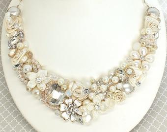 Gold Bridal Bib-Gold Bib Necklace-Bridal Statement Necklace-Soft Ivory Wedding Necklace- Bridal Statement Bib-Gold Bridal Necklace-Soft Gold