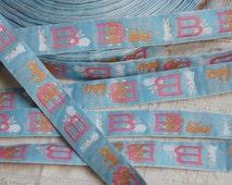 Vintage French ribbon trim, passementerie, baby shower, baby clothes, dolls clothes, vintage woven trim, blue pink trim, French bébé trim