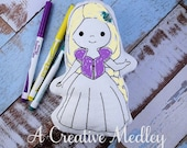 Doodle Its Hair Princess Stuffed plush Embroidery Design-Instant Download