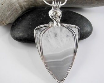Lace Agate Necklace, Quartz Crystal Pendant, Wire Wrapped Sterling Silver, Dove Gray Pendant, Mystical Moon Designs