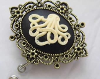 Ladies Cameo designer Badge reel retractable ID Badge Holder Key Card Octopus Sea Zoo Cephalopod