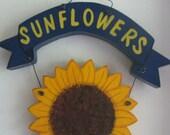 Sunflower Plaque, summertime, summer, sunflower, wall decor, wall hanging, handpainted