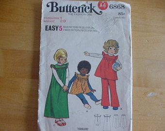 Vintage 1970's Butterick Pattern 6868, Toddlers' Jumper and Pants, Size 1  Breast 20, UNCUT