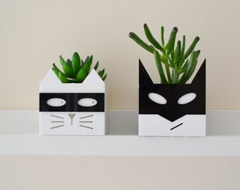 Superhero or Supervillain cat planter