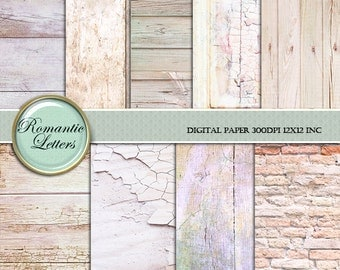 Shabby Chic  wood digital paper pack Digital Scrapbook background paper digital backdrop Shabby Chic wood digital newborn backdrop brick