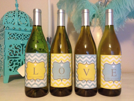 Wedding Gift LOVE Wine Bottle Labels - Lovely Little Party - 9 color options