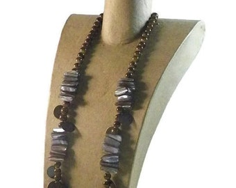 Boho Blue Mother of Pearl Necklace, Copper Beads and Clasp.  A Beautiful Gift Idea