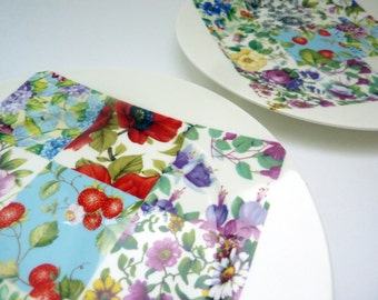 "Patchwork Bone China 8"" Side Plates - Set of 2   Cake Plates   Tea Plates   Salad Plates"