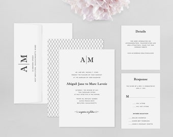 Wedding Invitation Modern Sample - Abigail - Wedding Invitation, Modern Wedding Invitation, Modern Wedding Invitations, Wedding Invitations