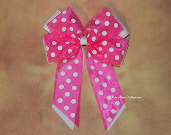 """Sheer Polka Dots Over Solid Grosgrain Tails Down RoseyBow® Hair Bow - 5"""" - Double Long Tails Hair Bow with Sheer Polka Dot Ribbon"""