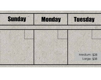 GREY Dry Erase Perpetual Calendar Set --Choose Your Font. Frame not included.