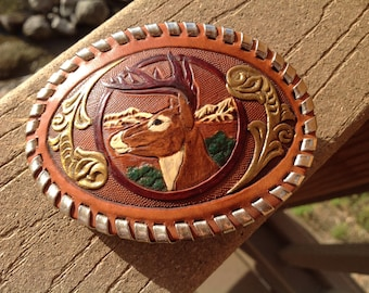 Tooled Leather Belt Buckle, Buck, Gold, Brass Trm, Painted, Hand Made,