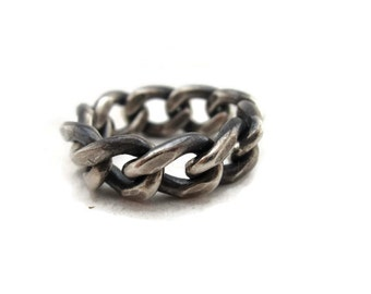 Mens Wedding Ring,  Curb Chain Ring, Oxidized Silver Chain Link Ring Mens Wedding Band Artisan Handmade  by Sheri Beryl