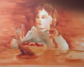 Fresh as a Berry, little girl with strawberries, 12 x12, original oil on canvas