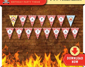 Fire Truck Red Party Banner   Printable Birthday Party Decorations   Boy or Girl   Instant Download