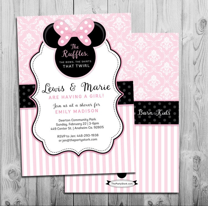 minnie mouse baby shower invitation printable invite pink