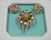 Vintage Floral Gold Tone Flower Jewelry Set, Brooch and Earrings, Book Piece, Rhinestones