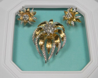 Floral Gold Tone Flower Jewelry Set, Brooch and Earrings, Book Piece, Rhinestones
