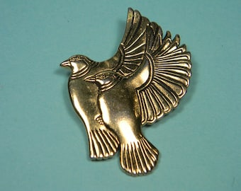 Laurel Burch Bird Brooch or Pin, Two Birds In Flight, Signed, 80s