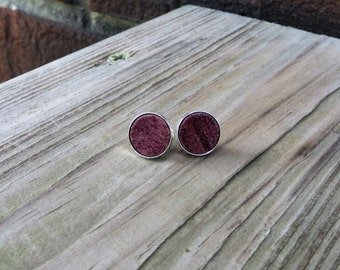 Solid 925 Sterling Silver Stud Earrings with Purpleheart Wood Inlay Handmade