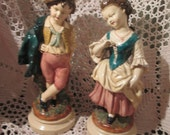 Vintage Chalkware Boy and Girl, French Provincial