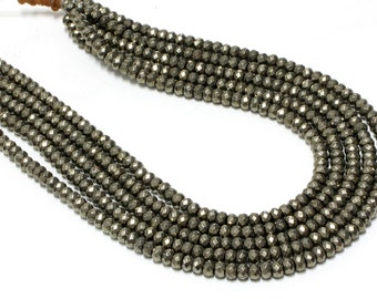 "GU6089-1 - A Grade Pyrite Faceted Rondelles - 4X6mm - Gemstone Beads - 16"" Full Strand"