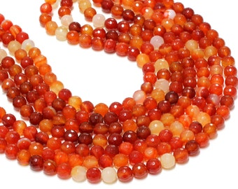 """GU-2546-4 - Natural Carnelian Faceted Round Beads - 10mm - Gemstone Beads - 16"""" Full Strand"""
