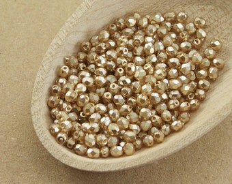 Pearl beads 70 pc 3mm beads Beige pearl Fire polished beads Gold pearl Czech glass beads Round faceted beads Small spacer beads last